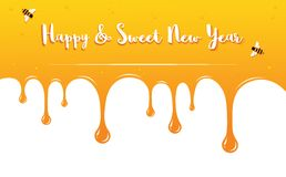 Honey drips with Shana Tova Greetings . Rosh Hashanah card. Vector illustration Royalty Free Stock Photo