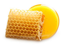 Honey drop and honeycomb Stock Photography