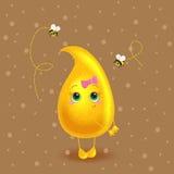 Honey drop. Vector character. Cute cartoon. Stock Image