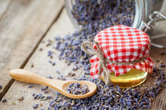 Honey and dry lavender tea closeup. Stock Image