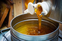Honey extraction. Extracting honey by honey extraction Royalty Free Stock Photo