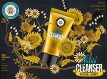 Honey facial cleanser ads. Cosmetic tube in 3d illustration with elegant flowers elements in etching shading style, dark blue and yellow tone stock illustration