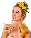 Honey facial mask with fresh fruits and honeycombs for hair . Royalty Free Stock Image