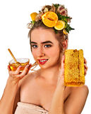 Honey facial mask with fresh fruits and honeycombs for hair . Royalty Free Stock Images