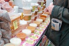 Honey fair in Moscow, Kolominskoe. Honey sale at honey fair Stock Images