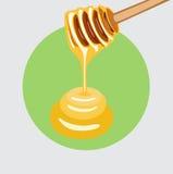 Honey falling from honey dipper flat design Stock Image