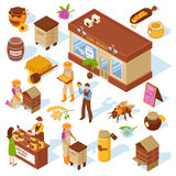 Honey Farm Isometric Icons Set Photo libre de droits