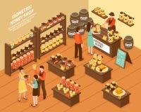 Honey Farm Shop Isometric Poster royalty-vrije illustratie