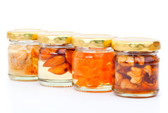 Honey of figs, nut, apricot canned Royalty Free Stock Photo
