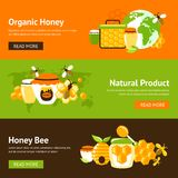 Honey flat banner set. Honey organic natural product drop comb bee hive and cell food agriculture flat banner set isolated vector illustration Stock Photos