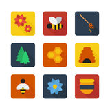 Honey flat vector icons Stock Images