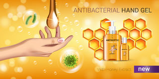 Honey flavor Antibacterial hand gel ads. Vector Illustration with antiseptic hand gel in bottles and honey elements. Horizontal banner Royalty Free Stock Photo