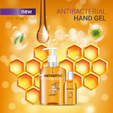 Honey flavor Antibacterial hand gel ads. Vector Illustration with antiseptic hand gel in bottles and honey elements. Poster Stock Images