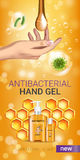 Honey flavor Antibacterial hand gel ads. Vector Illustration with antiseptic hand gel in bottles and honey elements. Vertical banner Stock Photo