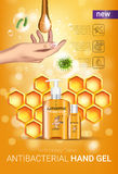 Honey flavor Antibacterial hand gel ads. Vector Illustration with antiseptic hand gel in bottles and honey elements. Vertical poster Royalty Free Stock Image