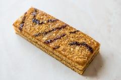 Honey Flavored Energy Bar med valnöten, mjölkar och karamellsås Royaltyfri Bild
