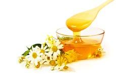 Honey with flowers Stock Photo