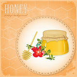 Honey and flowers on old paper Stock Image