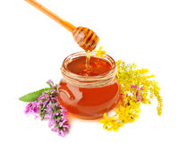 Honey with flowers Royalty Free Stock Images