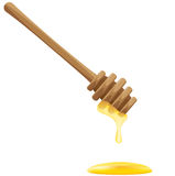 Honey flowing down a wooden stick Royalty Free Stock Image