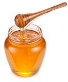 Honey flowing into glass jar. Royalty Free Stock Image