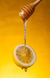 Honey flowing on lemon Stock Photos
