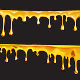 Honey flowing, in motion honey trickling down, isolated vector Royalty Free Stock Images
