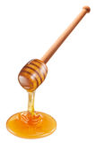 Honey flowing from wooden stick. Stock Image