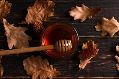 Free Honey Flows From A Stick Into A Jar. Rustic Sweet Autumn Photo, Wooden Background And Dry Leaves, Copy Space Royalty Free Stock Image - 159451676