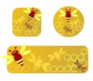 Honey frames. Three stylized honey frames with honeycomb and bees Stock Photos