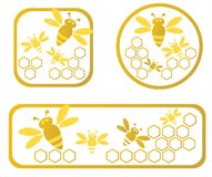 Honey frames. Three stylized honey frames with honeycomb and bees Stock Photography