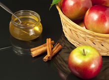 Honey, fresh apples and cinnamon. Stock Images