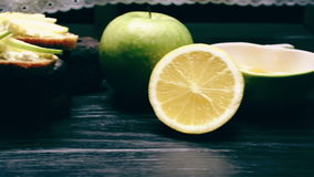 Honey, fruit and sandwiches stock video