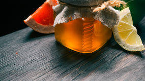 Honey and fruit Royalty Free Stock Images