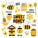 Honey funny doodle set. Beekeeping, apiculture: bee, hive, spoon, honeycomb, jar, pot. Hand drawn vector illustration. royalty free illustration