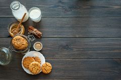 Honey ginger cookies with milk on a rustic background Stock Image