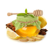 Honey, ginger, lemon and spices Stock Photography