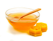 Honey in glass bowl Royalty Free Stock Photos