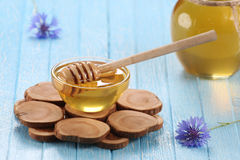 Honey in a glass bowl stock images