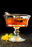 Honey in glass dish Royalty Free Stock Photography