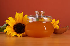 Honey in a glass jar Stock Photo