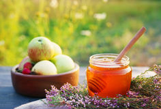 Honey in a glass jar with flowers melliferous herbs and autumn apples Royalty Free Stock Image