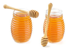 Honey in glass jar isolated on white background Stock Photo