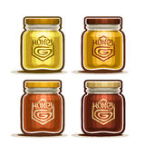 Honey in glass Jar with label Stock Photos