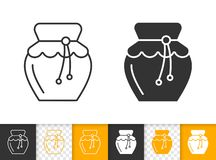 Honey glass Jar simple black line jam vector icon royalty free illustration