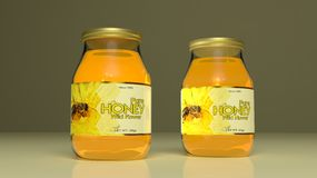 Honey glass jars. 3d illustration Royalty Free Stock Images