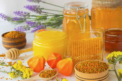 Honey in glass jars. Honeycombs and pollen Royalty Free Stock Images