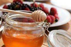 Honey glass,wooden dipper,berries Stock Photo