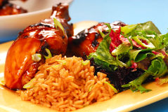Honey glazed chicken with rice and salad Royalty Free Stock Image