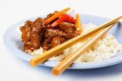Honey glazed pork meat with rice Royalty Free Stock Photo
